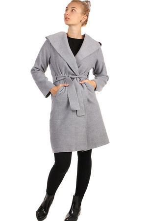 Elegant slim ladies coat without fastening (only with belt). Suitable for spring / autumn. Hooded design. Material: 80%