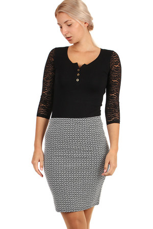 Women's social skirt with fine pattern. Also suitable for full-length figures, available up to 3XL. The flexible material