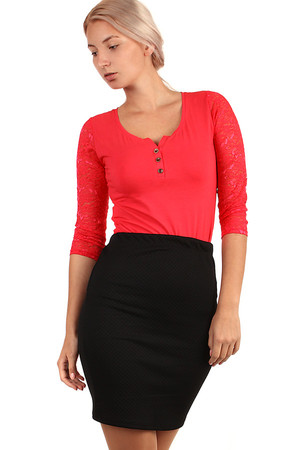 Quilted black business skirt with eraser at the waist. Sheath cut and one-color design suitable for company. Midi length