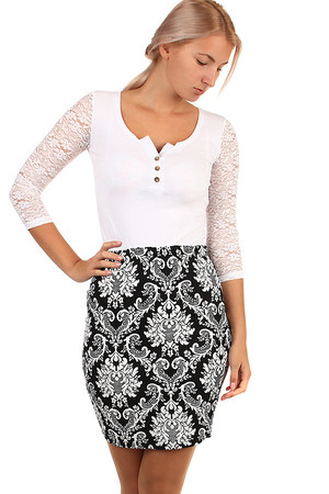 Women's social skirt with a sleeveless cut. Rubber waist. Fine ornaments visually slim the figure. Also suitable for