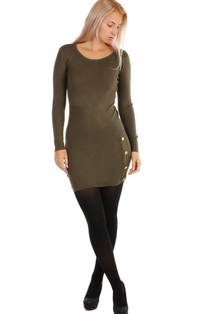 Long women's knitted dress. The lower part is decorated with shiny patents. Can also be worn as a long sweater. Material: