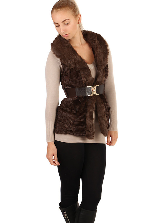 Winter quilted vest with fur