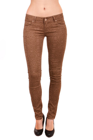 Brown women's pants with pattern. On the ends of the leg zippers. Front and rear pockets. Material: 95% cotton, 5% spandex