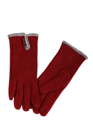 Women's gloves with fur and decorative buttons. Inside the fur. Material: 100% combed cotton (85% cotton, 15% viscose).