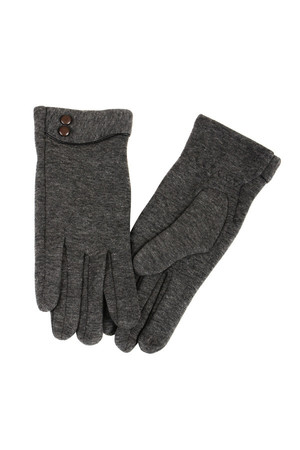 Women's gloves with decorative buttons. Material: 90% polyester, 10% elastane.