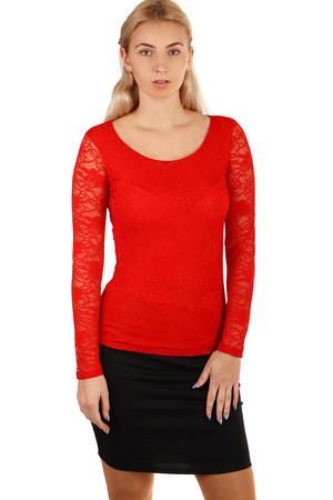 Women's lace t-shirt. Front and back lined with opaque fabric. Round neckline. Long sleeves. Suitable for festive occasions