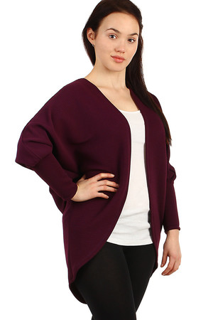 Oversized sweater - cardigan without closing with fine ribbed pattern. Thanks to free cut suitable for full-bodied figure.