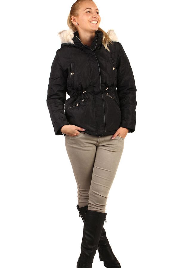 Women's winter parka with furry hood oversize