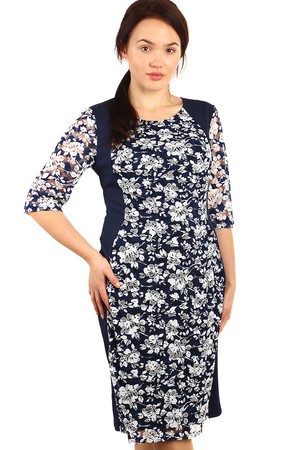 Floral dress with 3/4 sleeve. Suitable for plump. Up to size 54. Material: 100% polyester Import: Poland