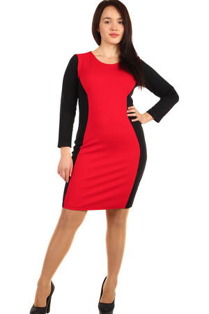 Long-sleeved red-black dress. Also suitable for plump. Up to size size 54. Material: 95% cotton, 5% polyester