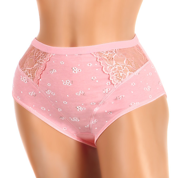 Women's cotton lace panties printed with flowers and high waist