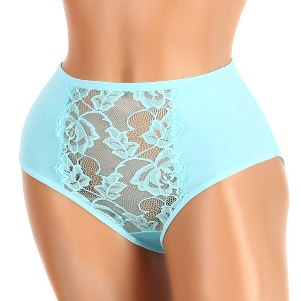 Women's cotton high panties with lace