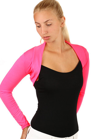 Women's modern long sleeve bolero. Solid color from pastel to distinctive neon tones. Without printing and without fastening.