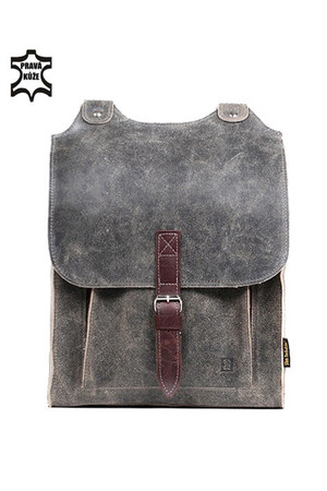 Large leather backpack with buckle. Eco-friendly design made of natural materials. Quality materials guarantee a long service