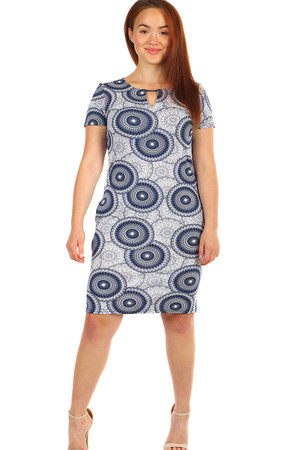 Patterned women's short sleeve dress. Up to size 48, suitable for plump. Material: 90% cotton, 10% polyester.