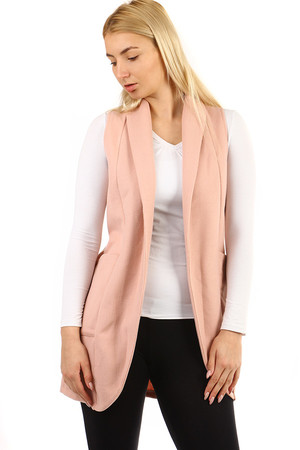 Women's comfortable long vest without fastening. Material: 100% polyester Import: Italy