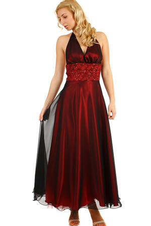 Long burgundy neck dress with rhinestones. Material: 100% polyester