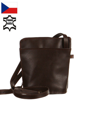 Practical, handmade genuine leather handbag 140 cm adjustable strap 2 outer pockets 17x14 cm zippered Dimensions: height 19
