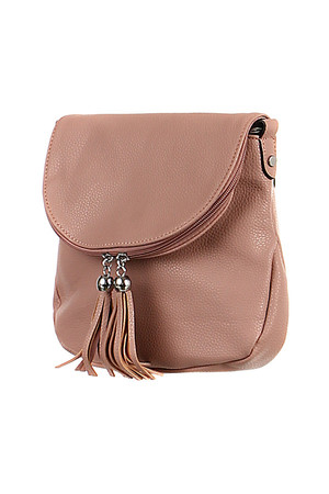 Small leatherette handbag with tassels. zip and magnet closing two small compartments inside and one zipped pocket a small