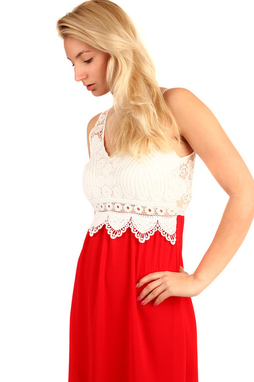 Two-color dress lace back
