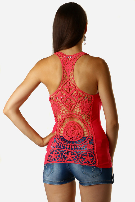 Women's ribbed tank top lace back