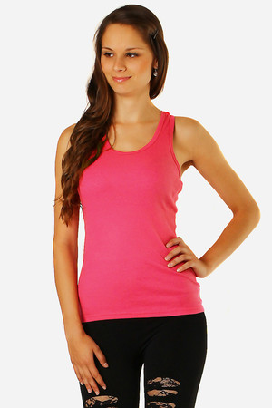 Undershirt with lace on back. The front of the tank top with fine ribbing. Available in several colors. Material: 65% cotton,