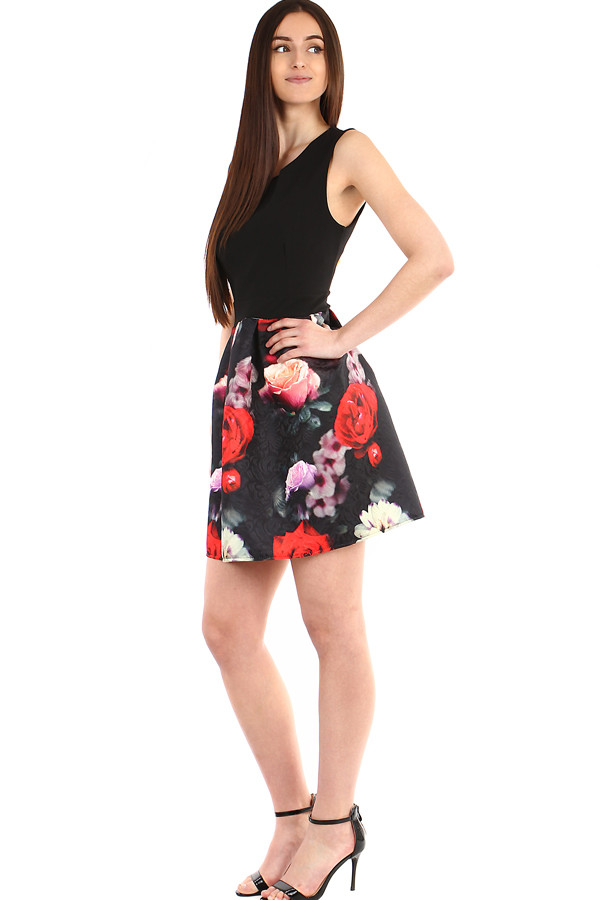 Women's dress with a flowered skirt