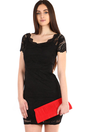 Romantic Ladies Lace Short Sleeve Dress. Zip fastening. Dresses have reinforced cups. The size corresponds to S-M. Material: