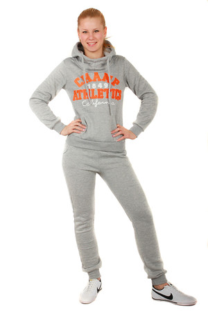 Ladies sport set with print. Very comfortable. Hooded sweatshirt with pockets. Sweatpants have a small pocket at the back and
