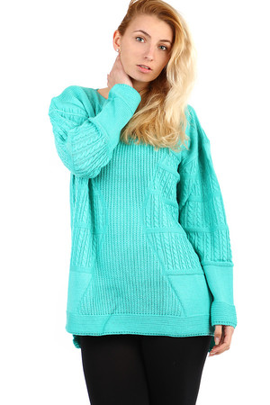 Women's knitted oversized sweater with pattern. Long sleeves. With slightly extended back. Suitable for winter.Free cut -