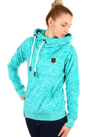 Women's fleece sweatshirt with hood and front pocket. The sweatshirt is suitable for spring, autumn and winter. Pleasant warm