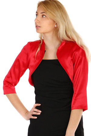 Elegant women's 3/4 sleeve bolero. Nice satin material. Without closing. The sleeves are looser. Up to size 52- suitable for