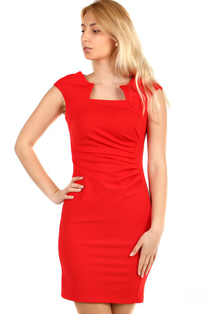 Elegant ladies' sleeveless dress with interesting neckline and short sleeves. Slightly draped on the side. Model photographed