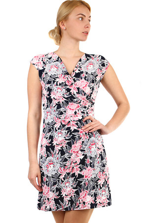 Ladies short dress with wrapping effect and short sleeves. Suitable for summer, even for the company. Up to size 48 - also