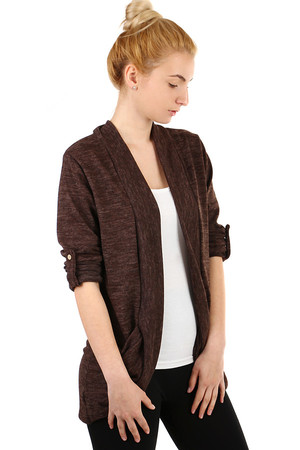 Long Sleeve Cardigan. Can be folded and fastened with knob. Pockets on the sides. Material: 95% polyester, 5% elastane.