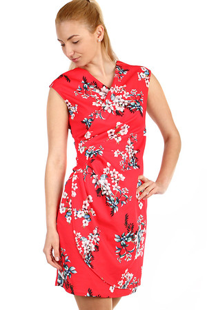 Women's short flowered dress - wrapping effect. Material: 95% polyester, 5% elastane. Import: Italy