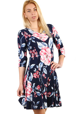 Women's Floral Dress with 3/4 Sleeves and Floral Pattern. Up to size 48 - also suitable for a full body. Material -