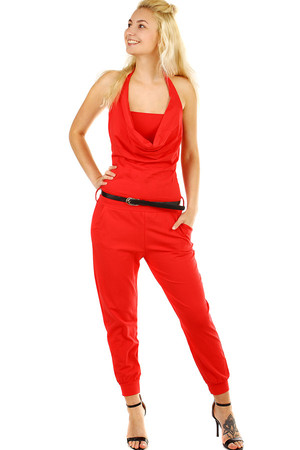 Women's long monochrome overal neck, with bare back and loose neckline. Slim waistband. The overalls have pockets.