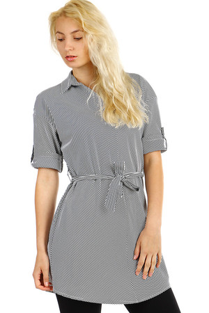 Women's, slightly striped blouse with a longer waist. Extended cut - can be worn as a short dress. Material: 60%