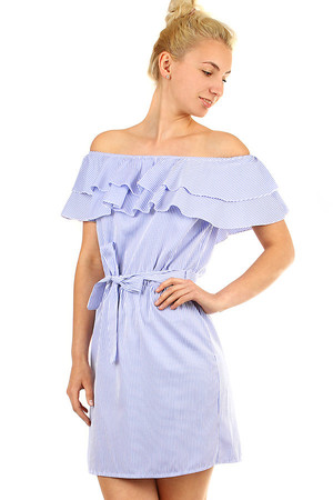 Romantic summer ladies dress with ruffle neckline. Tied ribbon at the waist. Can also be worn as a longer blouse. Suitable