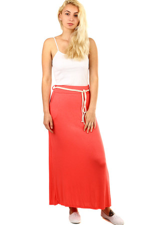 Women's summer long skirt straight cut. Decorative cord strap in the waist. Maxi length to ankles. Single-color design
