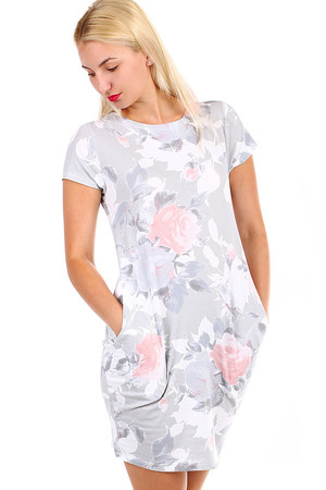 Romantic flowered women's dress with pockets and short sleeves. Material: 95% cotton, 5% elastane Import: Italy