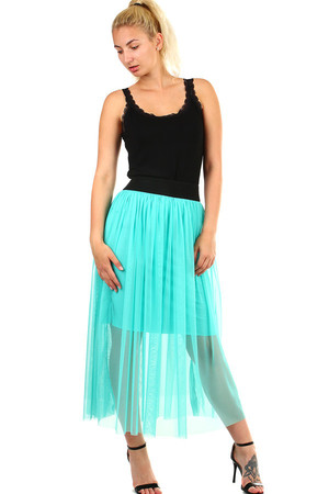Romantic ladies tulle skirt longer cut. Elastic rubber at the waist. Material: 95% polyester, 5% elastane. Import: Italy