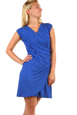 Women's summer polka dot retro dress with wrapping effect. Up to size 48 - even for full body. Material: 100% viscose.