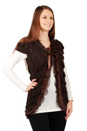 Women's original cold weather vest decorated with artificial fur. Material: 100% acrylic