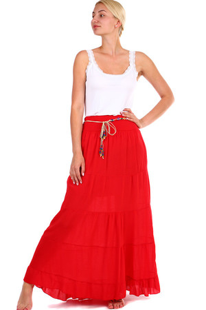 Women's Summer Maxi Skirt with Bead Strap. Long length to the ankles. Solid color design. Material: 100% viscose. Import: