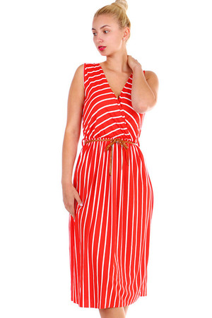 Women's summer striped dress with folded neckline and belt. Material: 95% viscose, 5% elastane Import: Italy