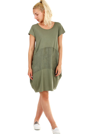 Women's summer oversized beach dress with short sleeves and pockets. Material: 95% cotton, 5% elastane Import: Italy