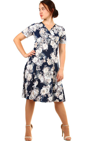 Women's short retro dress with short sleeves and floral print. The neckline has a wrapping effect. Up to size 54 - also