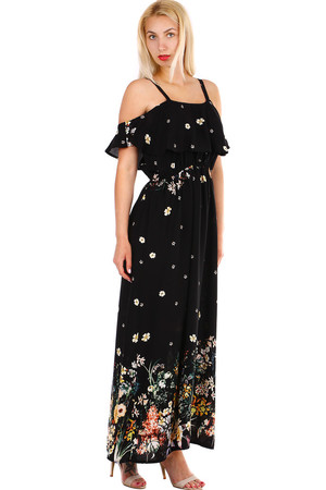 Women's summer maxi dress with flowers print. The dress has narrow adjustable straps and is called at the top. Elastic rubber
